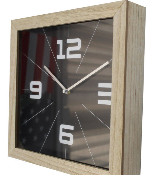 Large 29cm Square Wood Wall Clocks Black or White Background Deep Design