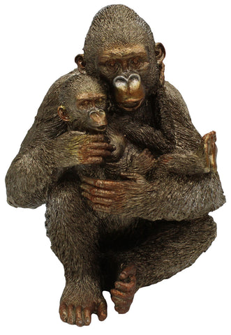 Large 23cm Bronze Gold Great Ape Figurine Cuddling Baby Ape