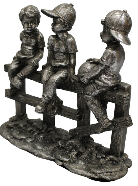 Large 25cm Retro Silver Metal Children Sitting On Fence 3 Boys On Fence Figurine