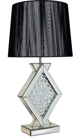 Elegant Black Table Bedroom Bedside Lamp With Crystals Glass Base By Pharmore