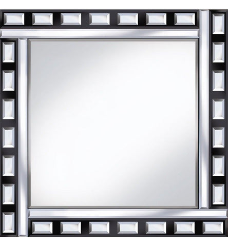 Elegant Black And Silver Square Wall Mirror Tile Mirror Bevelled 60cm x 60cm