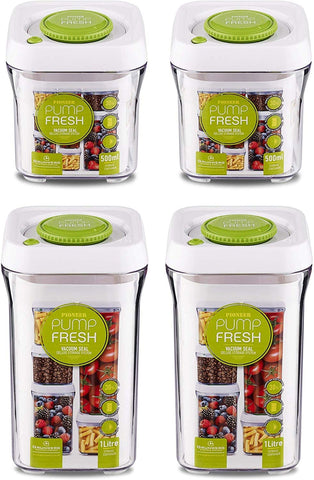 Pioneer Pump Fresh Set of 4 Airtight Plastic Square Storage Containers Stackable