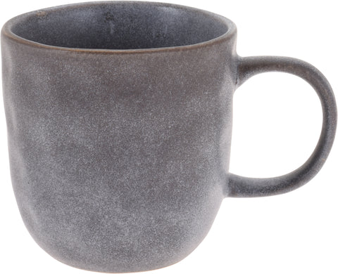 Set of 6 Large Stoneware Coffee Mugs Speckled Grey 350ml Capacity Dimpled Effect