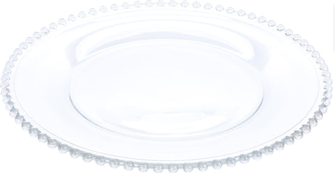 34cm Lead Free Crystal Glass Charger Plate Serving Plate Clear Glass Pie Cake