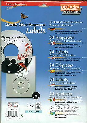Decadry Metallic Silver Cd DVD Labels 24 CD Permanent Blank Labels