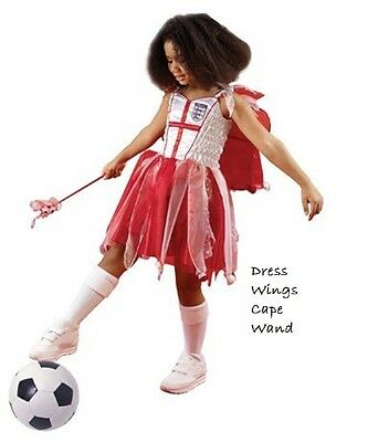 England Football Fairy Fancy Dress Girls Christmas Costume Dress Cape & Wand