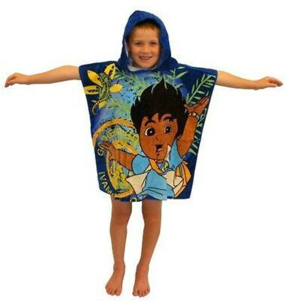 Children Kids Poncho Bath Towel Robe Diego Jungle Hooded Poncho