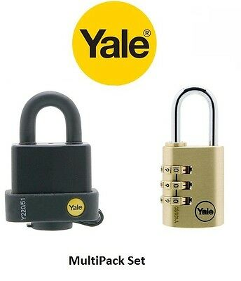 Yale Laminated Steel Padlock with Cover &  Brass Yale Combination Padlock Set