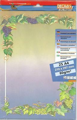 Decadry SPF-6631 Premium Letterhead Vineyard Themed A4 Paper, Certificate Paper