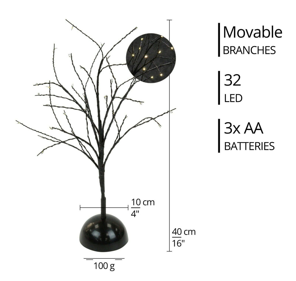 32 Led Christmas Tree Light Up Black Rose Gold Twig Tree Easter Home D Cheerful Bargains Ltd