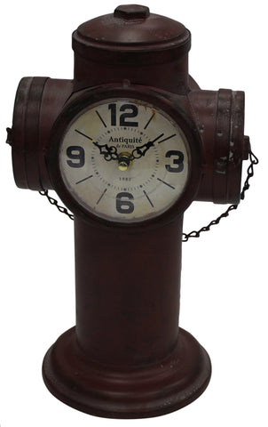 Antique Style Table Office Clock Fire Hydrant Metal Antique Style Deep Red