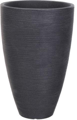 Large Ribbed Charcoal Planter Plant Pot 61cm Tall, 39cm Wide
