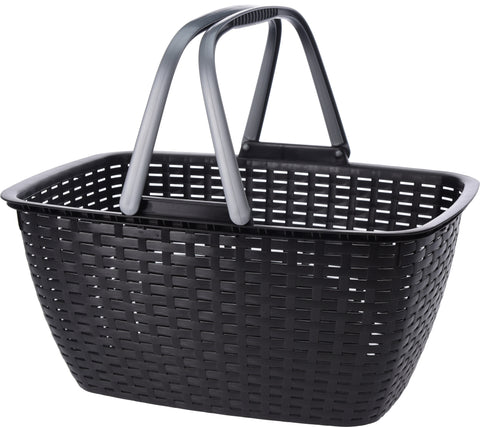 30 Litre Rattan Black Basket With Carry Handles Shopping Basket Black Laundry Basket