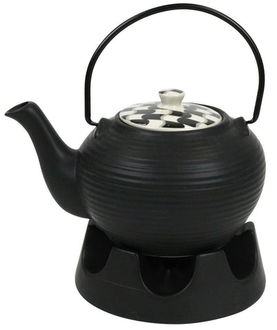 Japanese Teapot Black Lines With Teapot Warmer Ceramic Jameson & Tailor 6 Cup