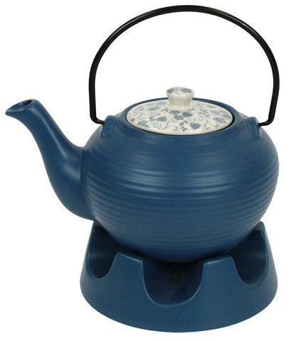 Japanese Teapot Light Blue Striped & Teapot Warmer Ceramic Jameson Tailor 6 Cup