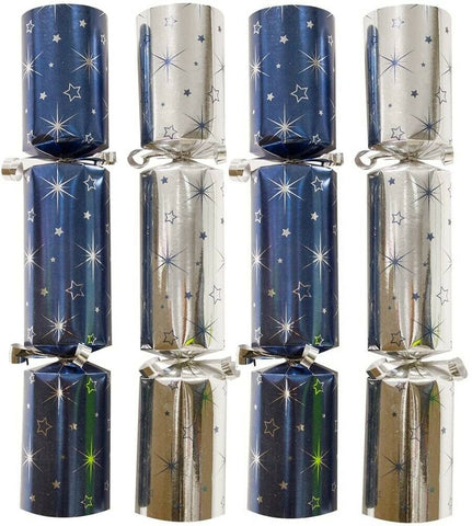 Bulk Pack Catering Large Christmas Crackers Box of 50 Luxury Blue & Silver