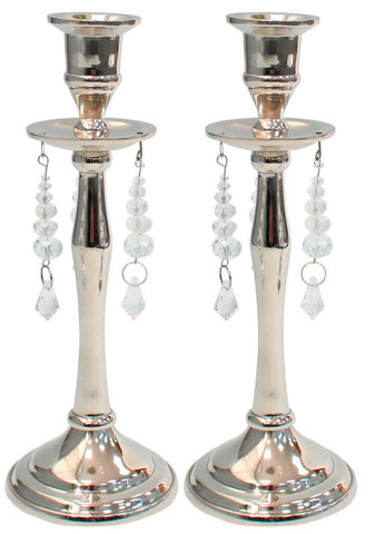 Set of 2 Silver Candlesticks Candle Holder With Glass Drops Candle Sticks 28cm