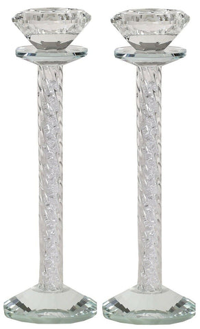 Tall Crystal Glass Candlesticks Filled With Crushed Crystals Candle Holder 23cm