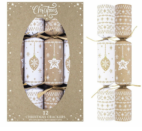 "Set Of 12 Large 12"" Christmas Crackers Eco Friendly Baubles & Star Cracker"