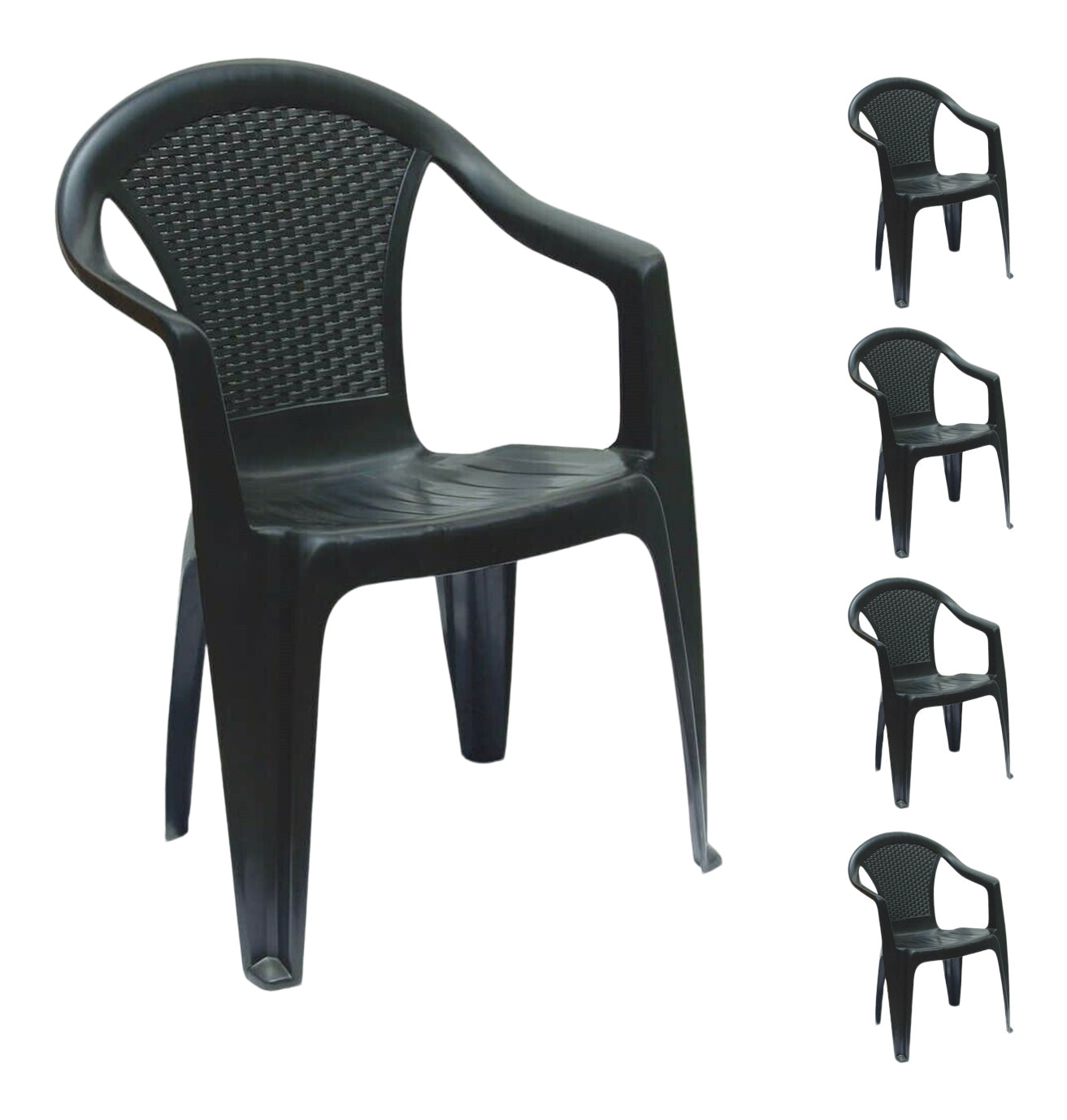 Set Of 4 Rattan Garden Chairs Stackable Plastic Outdoor Chairs With Arms Black