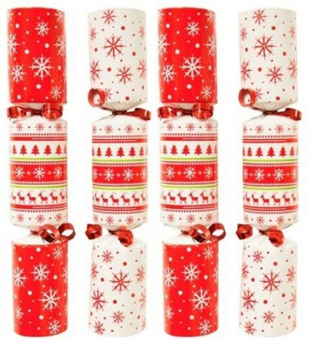 Bulk Pack Catering Large Christmas Crackers Box of 50 Nordic Red & White Cracker