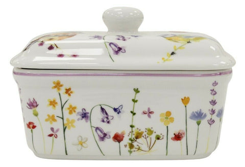 Leonardo Collection Bell Top Fine China Garden Birds Butter Dish Gift Boxed