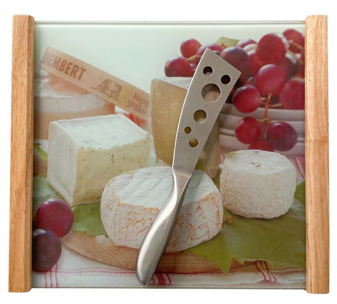 Glass Serving Tray With Wooden Handles Cheese & Grapes Design Presentation Board