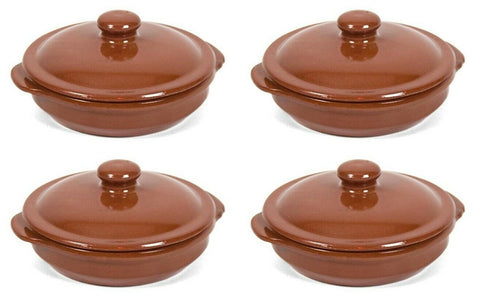 Set of 4 Mini Terracotta Moroccan Stoneware Tapas Casserole Dish With Lid 13cm