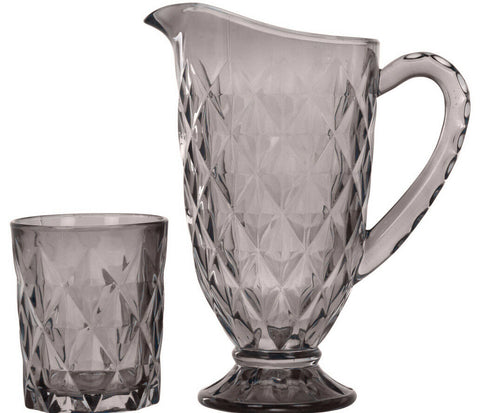 1 Litre Smoke Grey Glass Drinking Jug & 6 Matching Glass Tumblers Crystal Design
