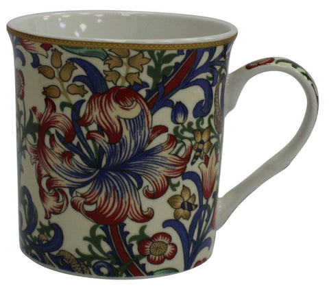 Leonardo Collection Set 4 China Coffee Mugs William Morris Golden Lily Floral
