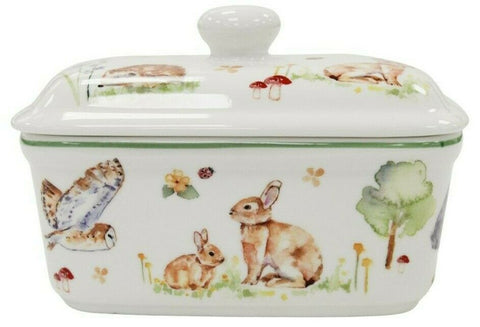 Leonardo Collection Bell Top Fine China Woodland Wildlife Butter Dish Gift Boxed