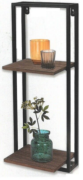 Black Metal Wall Display Rack Shelving With 2 Shelves 53cm Height x 20cm Width
