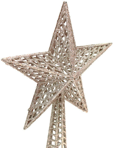 Christmas Tree Topper Star Decoration Treetop Ornaments Rose Gold Glitter 26cm