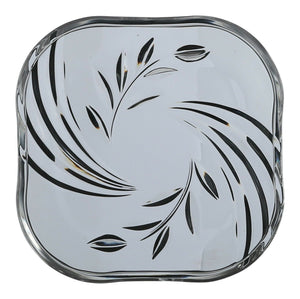 Set of 6 Glass Floral Leaf Side Plates 16cm Square Glass Plates Made in Japan
