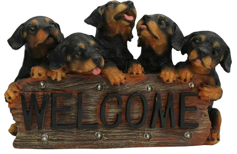 Cute Puppy Dogs Solar Powered Led Welcome Sign With Rechargeable Battery