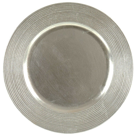 Set Of Silver Charger Plates 33cm Under Plates Round Chargers Gloss Rippled