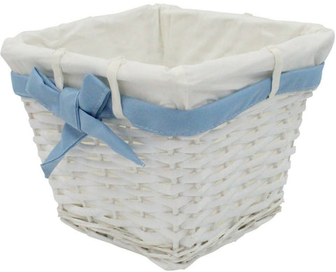 Small Rattan Woven Wicker Lined Baskets 18cm Small Basket Blue Ribbon