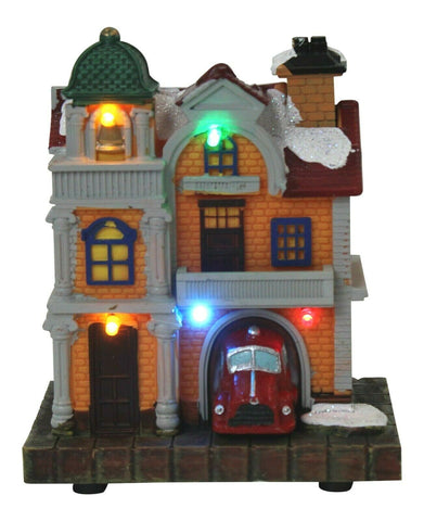 Lightup Christmas Ornament Miniature Police Station Mini Festive Xmas Scene 12cm