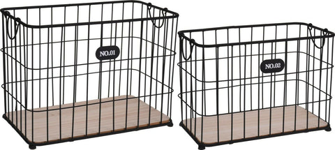 Set of 2 Large Heavy Duty Rectangle Black Baskets Laundry Basket Magazine Rack