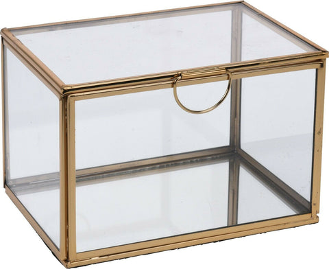 Gold Glass Jewellery Box Square Glass Box With Metal Frame For Jewelry Trinkets