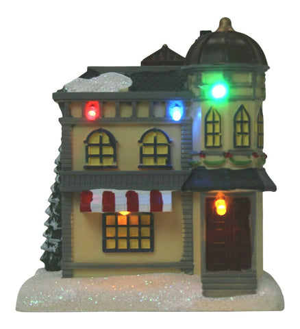 Lightup Christmas Ornament Miniature Shop Mini Festive Winter Xmas Scene 12.5cm