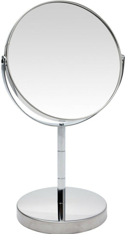 Double Sided Makeup Mirror Magnified x 2 Swivel Mirror On Stand Chrome