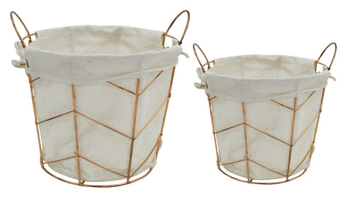 Set OF 2 Round Lined Metal Copper Baskets Storage Baskets Home Decor Handles