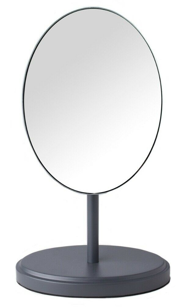 Heavyweight Grey Metal Makeup Mirror Shaving Mirror On Stand Vanity Oval Mirror