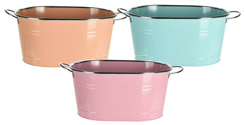 Bright Pastel Colour Oval Bucket Plant Zinc Planter Plant Pot Flower