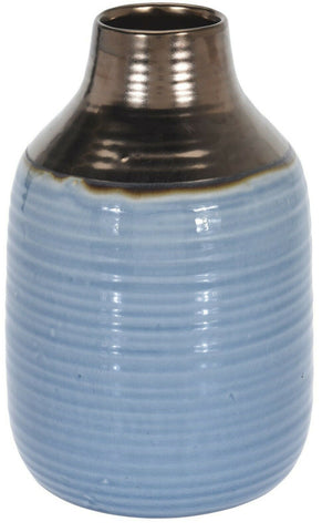 Large Ceramic Bottle Shaped Tall Flower Vase 27cm Tall Blue & Gold Wide Mouth