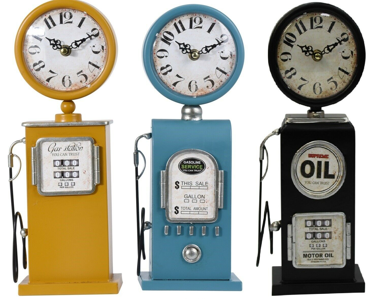 Antique Style Petrol Pump Table Clock Metal Antique Style Yellow Blue & Black