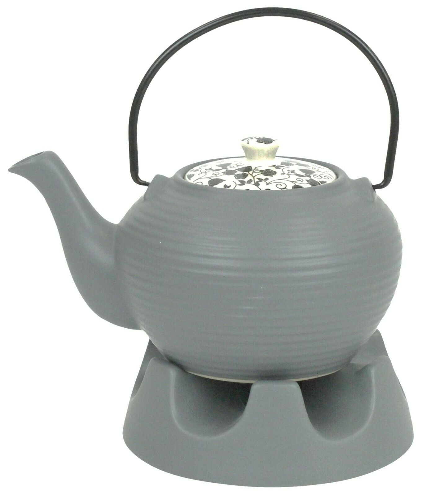 Japanese Teapot Grey Lines With Teapot Warmer Ceramic Jameson & Tailor 6 Cup