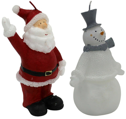 Christmas Candles White & Grey Snowman Candle / Red Santa Candle 15cm Tall