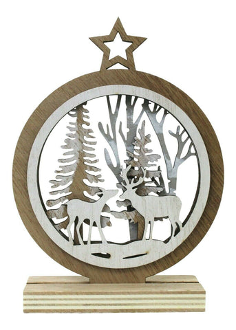 Wooden Christmas Ornament - Round Festive Xmas Reindeer Forest Tree Decoration